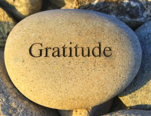 "a rock with the word ""gratitude"" inscribed into it"