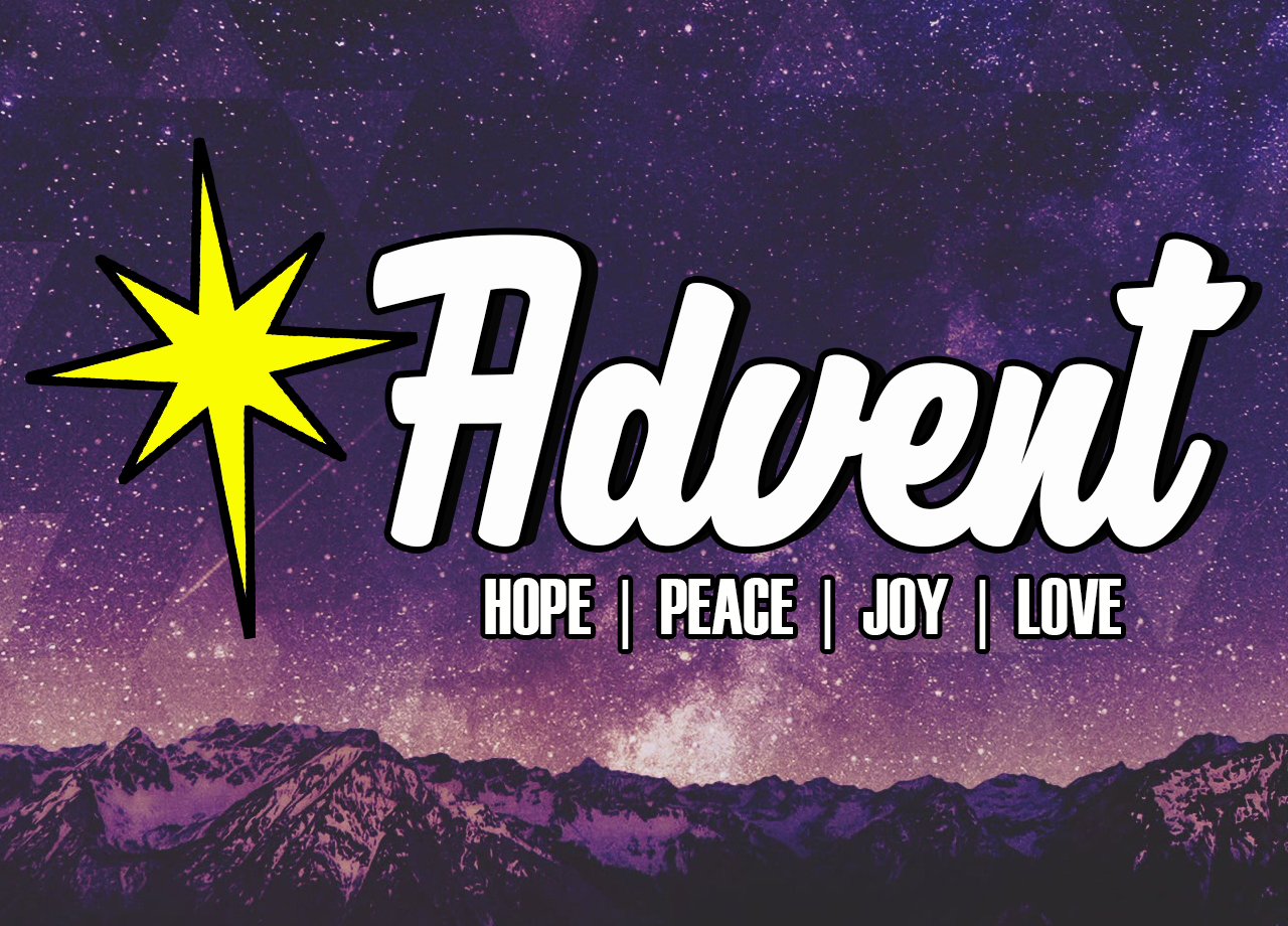 Artistic rendering of the words Advent Hope Peace Joy Love