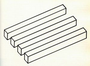 optical illusion drawing of multiple bars. One end shows 4 bars; the other end shows 3 bars.