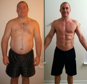 before and after photo of a man who lost considerable weight