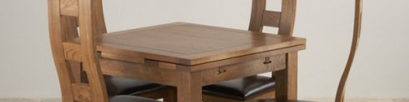 4 wooden chairs around a square wooden table
