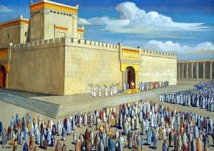 A crowd outside the Jewish Temple in Jerusalem for its inaugural  dedication