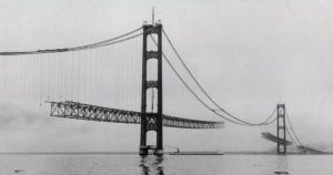 Incomplete construction of the Mackinac Bridge