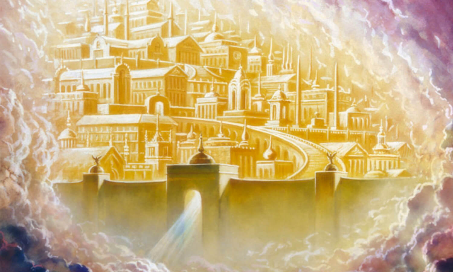 "artists rendition of ""New Jerusalem."" It looks like an aerial view of a city that's been painted entirely gold."