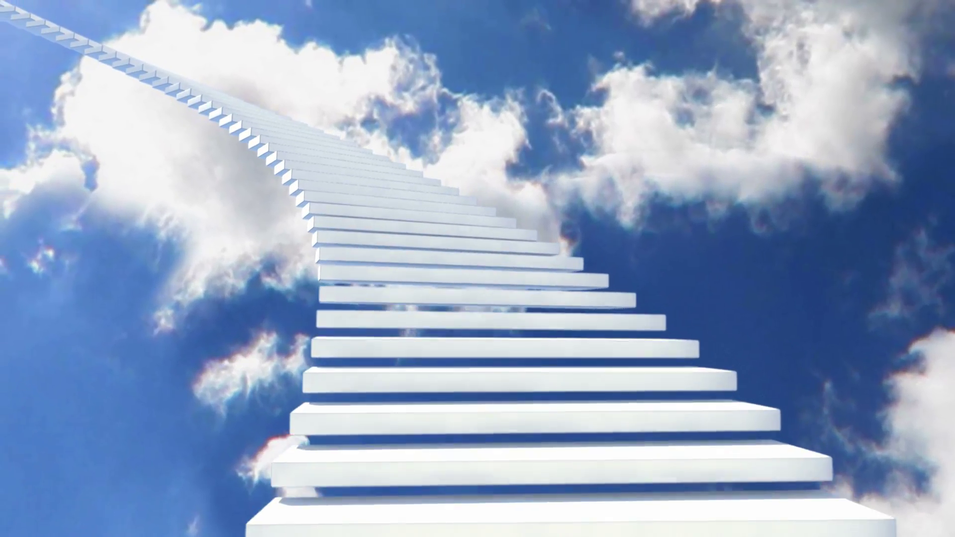 image of a stairway going up into the sky and clouds