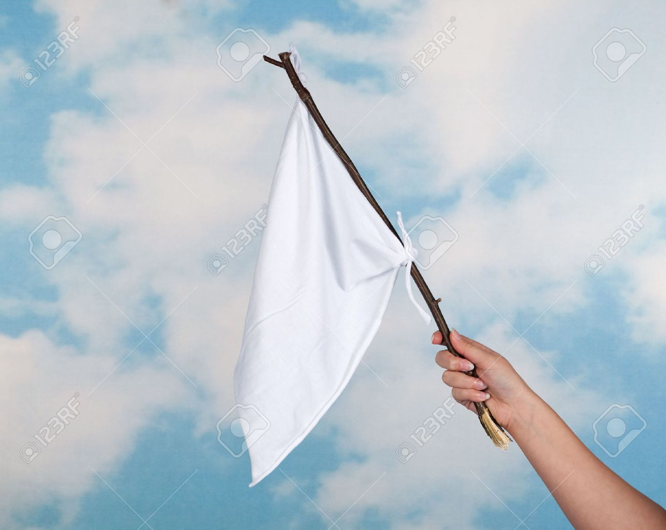 white flag on a stick