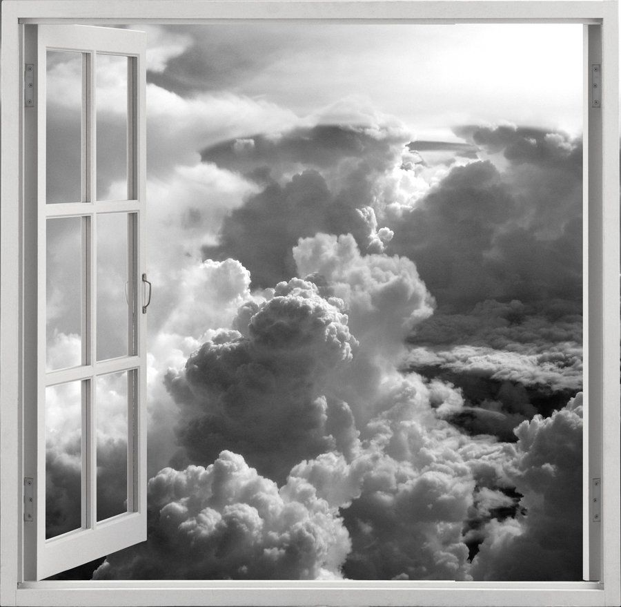 looking at the clouds through an open window