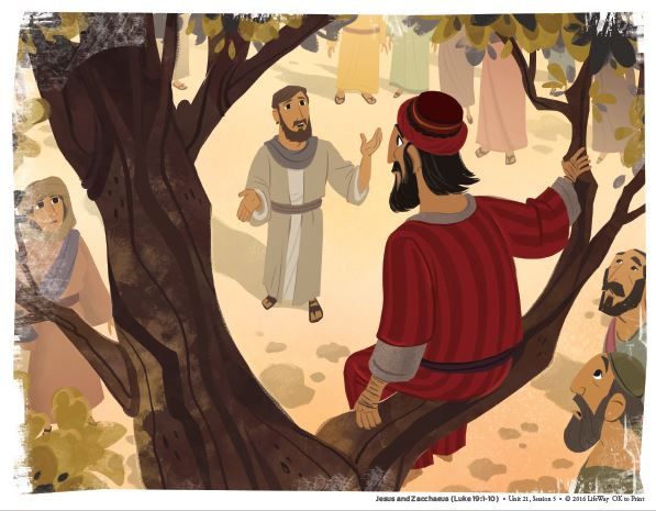 Zacchaeus sitting in a tree while Jesus looks up at him.