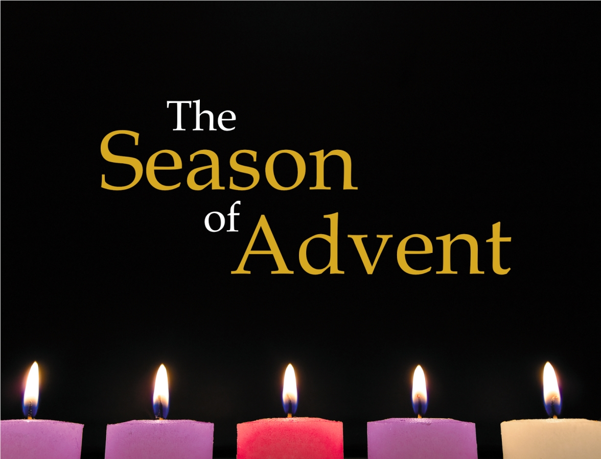 "The text ""The Season of Advent"" written above 4 Advent Candles"