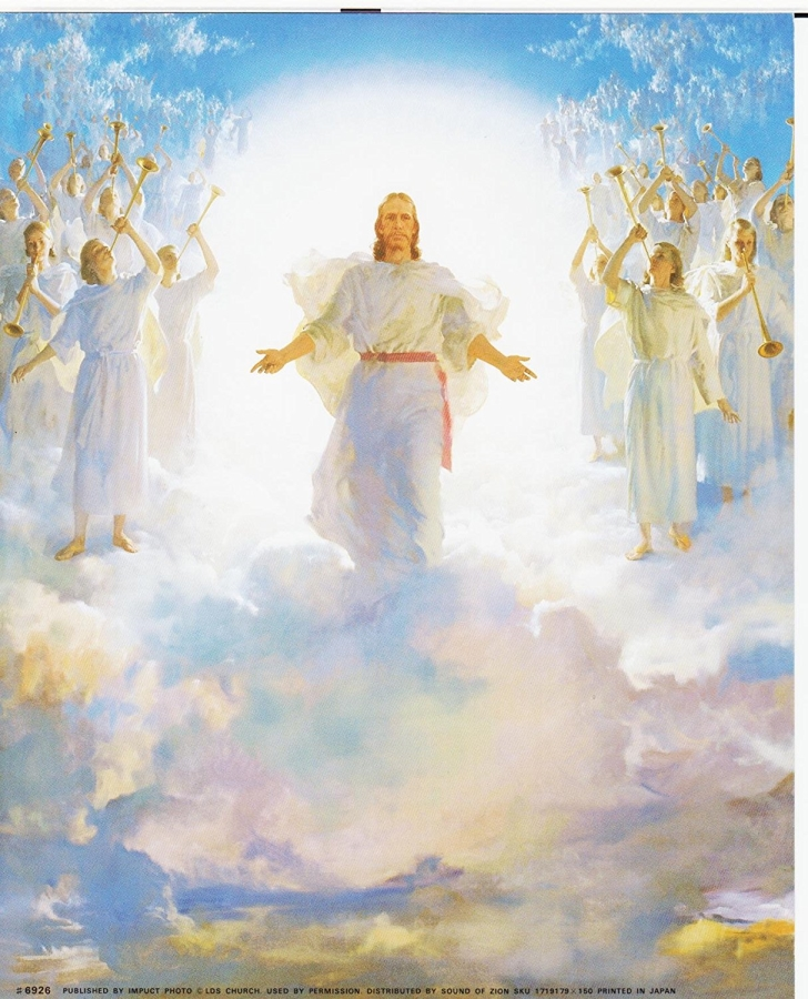 Artists rendering of Christ returning to earth, standing in the clouds