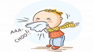 cartoon of a boy blowing sneezing