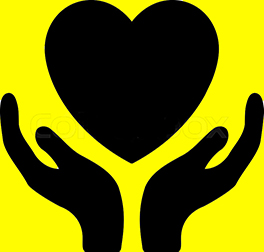 two hands, palms up, with a heart floating above; the graphic represents serving out of love
