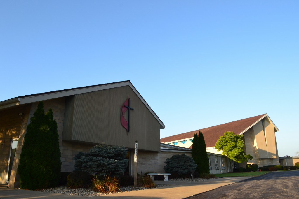 the front of Adrian United Methodist Church