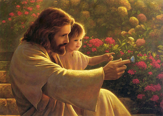 painting of Jesus with a young child on his lap. Jesus is touching a blue butterfly.