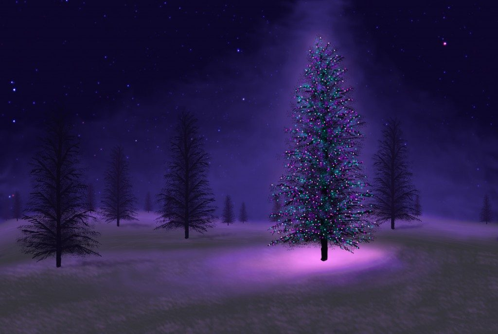 artistic rendering of a Christmas tree in a field with a light shining down upon it from above