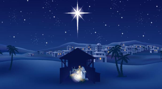 image of nativity with Bethlehem in background