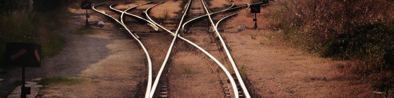 diverging railroad tracks