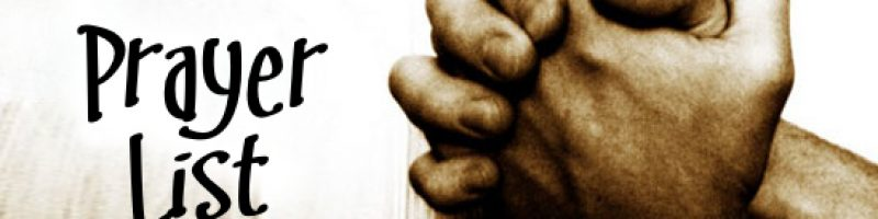 "hands clasped in prayer; the text ""Prayer List"""