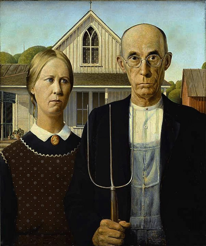 painting of elderly man and woman; man is holding a pitchfork; house in background