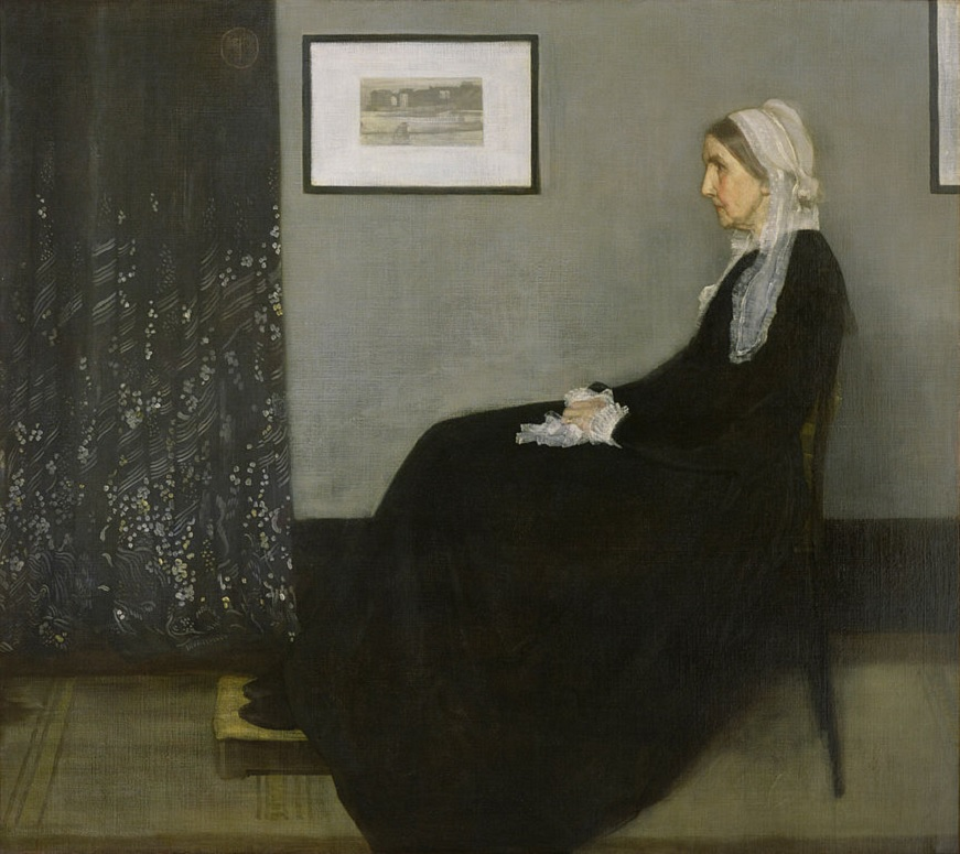 painting of elderly woman wearing a long black dress and white bonnet sitting on a chair beside a wall; the painting is a view of the woman's left side.