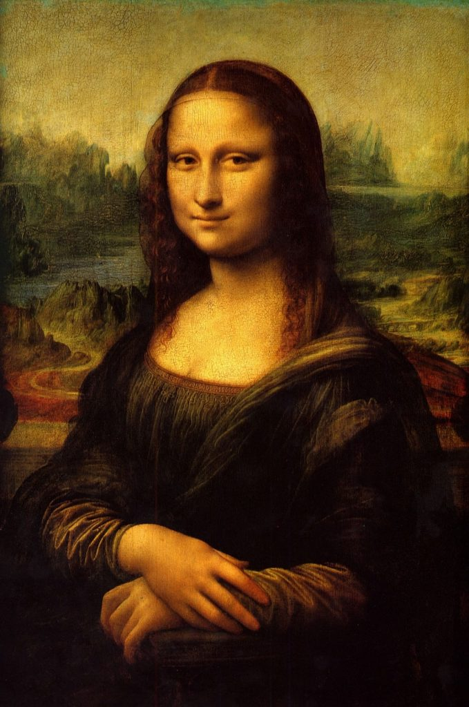 A famous painting by Leonardo da Vinci, a portrait of a young woman with a wry smile