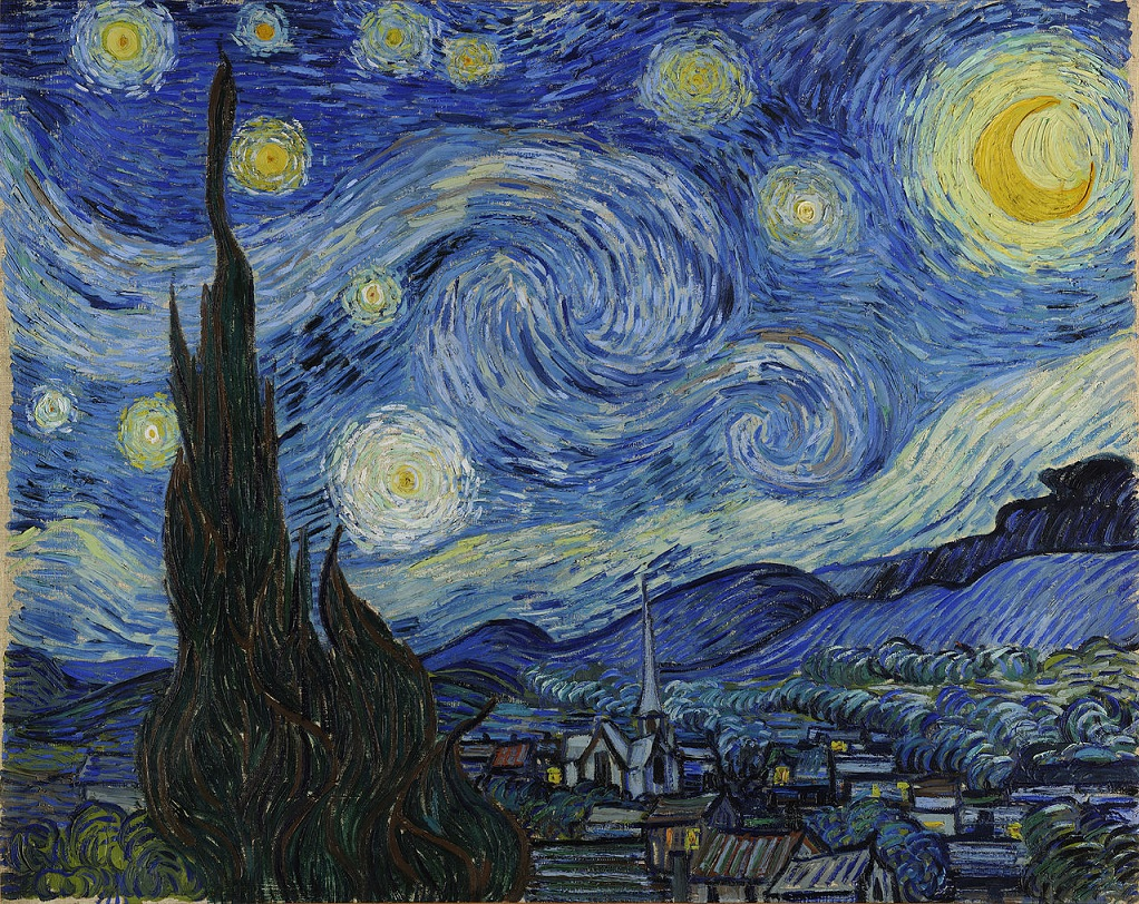 "painting of ""Starry Night,"" depicting a dark sky with large stars; a small town is below"