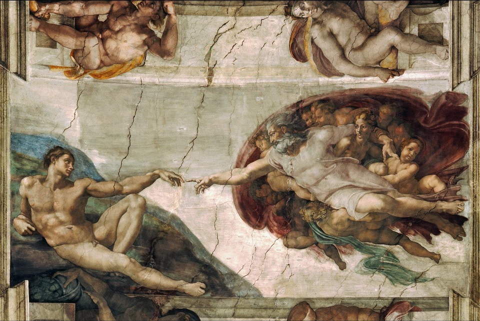 """painting of """"The Creation of Adam"""""""
