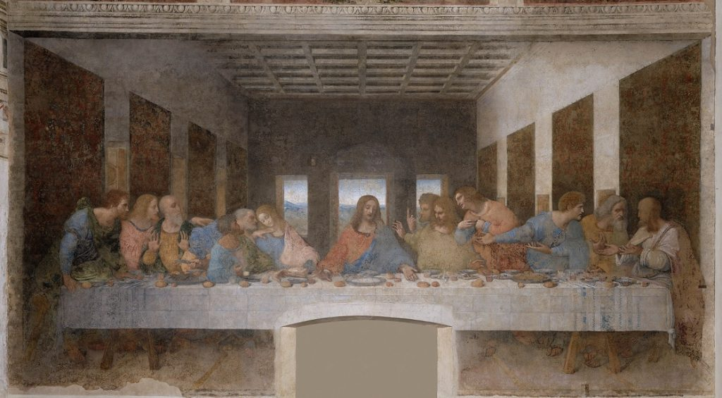 painting of Jesus and the 12 Disciples eating a meal at a table.