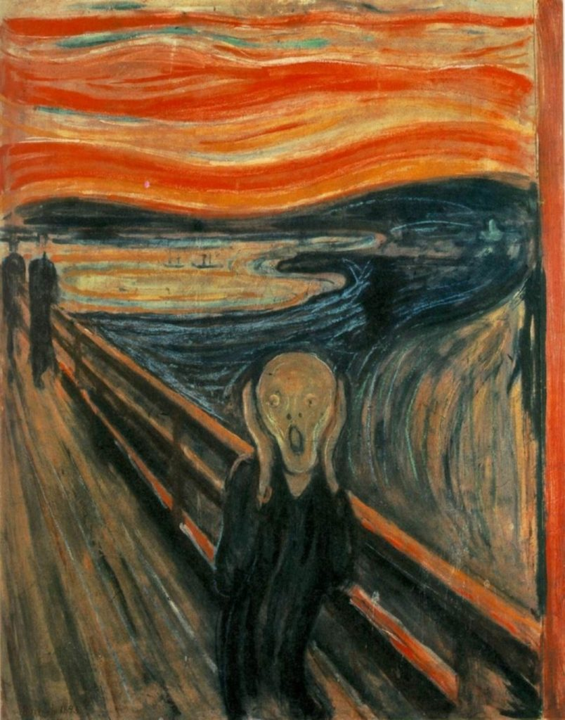 """painting called """"The Scream,"""" which depicts a male figure holding the sides of his head and his mouth is open as though he's screaming."""
