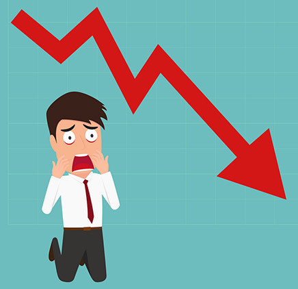 animation of a man kneeling down , holding his face in fear; a red stock market arrow pointing in a downward direction is above him.