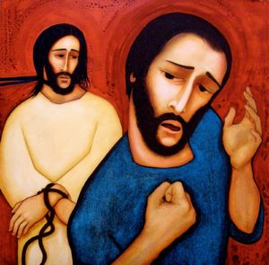painting of Jesus and Peter when Peter denied knowing Jesus.