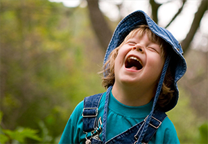 a child laughing